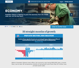 Microsites detailing President Obama's campaign issues, from healthcare, to the economy, and to education and equal rights.